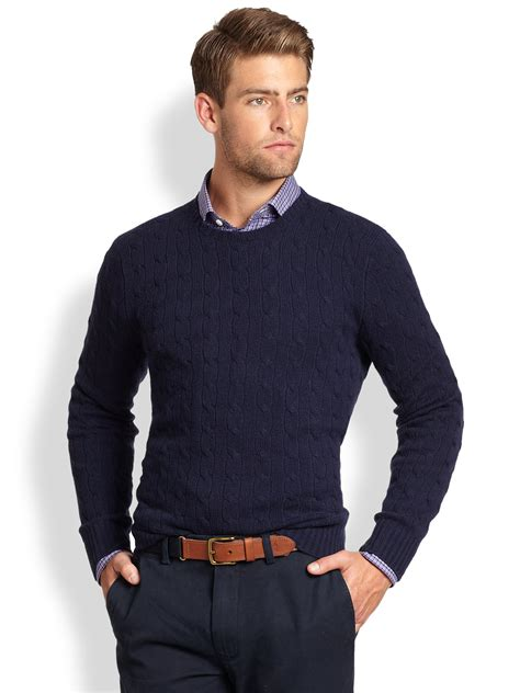 ralph polo sweaters polo ralph cable knit crewneck sweater in