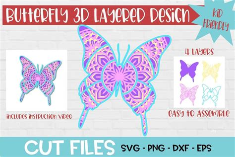 5 out of 5 stars. Butterfly Mandala 3D Layered SVG Design