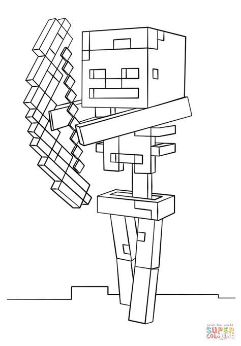 disegno  scheletro  arco  minecraft da colorare disegni da  immagini minecraft da