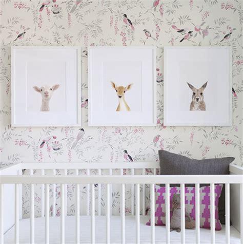 girls nursery bird wallpaper  animal print shop