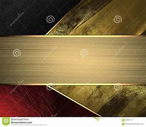 Blank Christmas Invitation Background Red Yellow And Black Background With Gold Ribbon Element