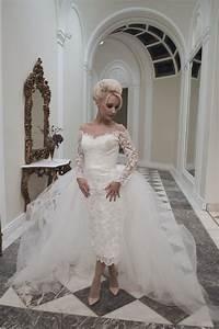 house of mooshki juliette calf length short lace pencil With pencil wedding dress