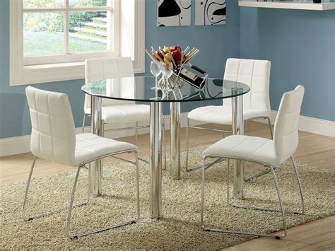 round glass breakfast table set 5pc kona round glass top dining table set bold chrome legs