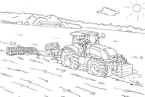 Kleurplaat Machines Landbouw trekker kleurplaat fendt trecker mit wagen bauernhof