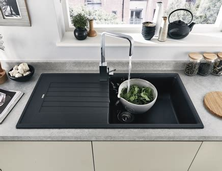 black composite kitchen sink black granite composite single bowl sink howdens joinery 4661