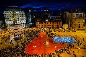 Photos: Protesters paint the town red in Macedonia ...