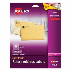 Avery easy peel clear mailing labels available in for Avery clear labels sizes