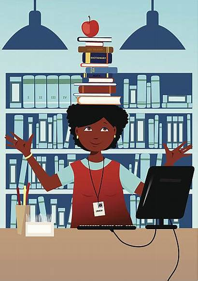 Librarian Head Books Library Illustration American Vector