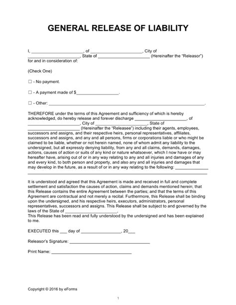 general release form template liability release form form trakore document templates
