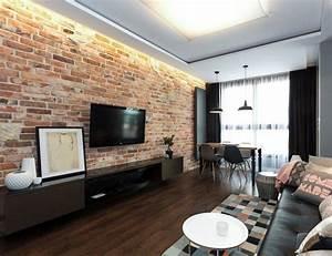 Wohnzimmer Industrial Style : wohnzimmer im industrial style rote ziegelwand und schwarze m bel wohnzimmergestaltunh ~ Whattoseeinmadrid.com Haus und Dekorationen