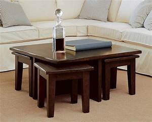 Coffee table with stools perfect choice for modern living for Coffee table with small tables underneath
