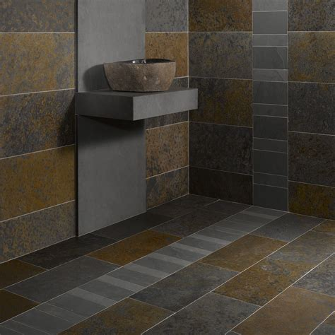 mosaique ardoise salle de bain dalles carrelage ardoise multicolor 60x30 indoor by