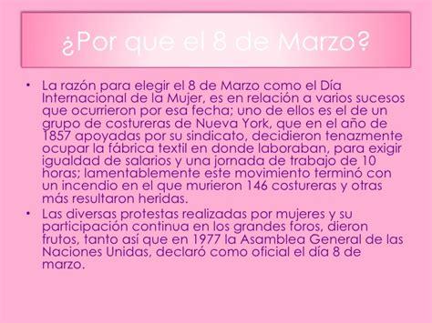 Resumen 8 De Marzo by Dia De La Mujer