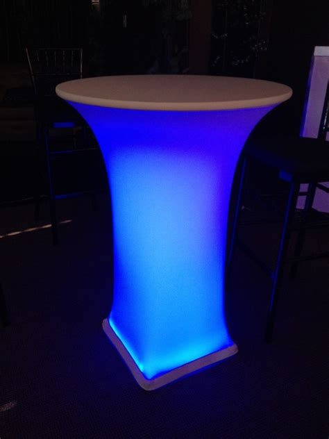 led light table 30 quot cocktail table with white spandex cover led