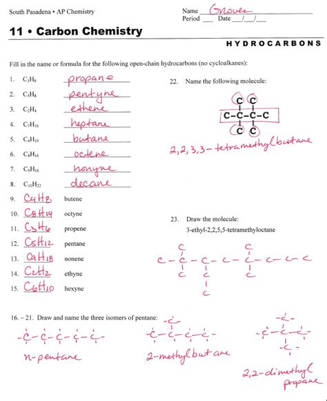 hydrocarbon nomenclature naming hydrocarbons practice