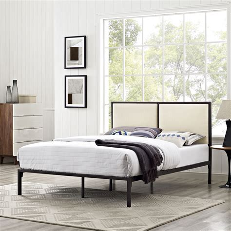 Bed Frame With Fabric Headboard by Modway Furniture 5463 Brown Metal King Bedframe With