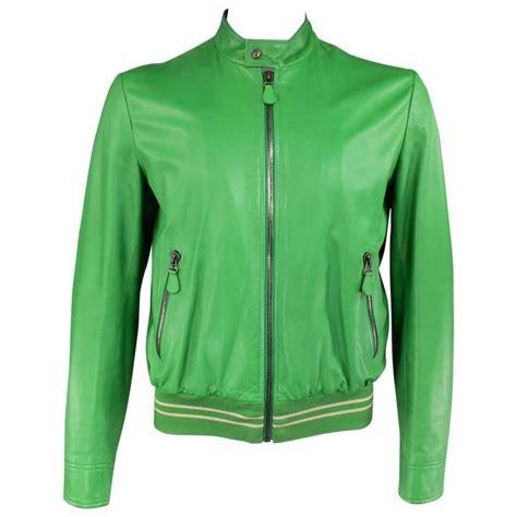 green motorcycle jacket men 39 s bottega veneta 40 green leather motorcycle bomber