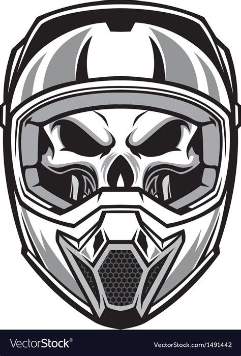 buy motocross bike skull wearing motocross helmet royalty free vector image