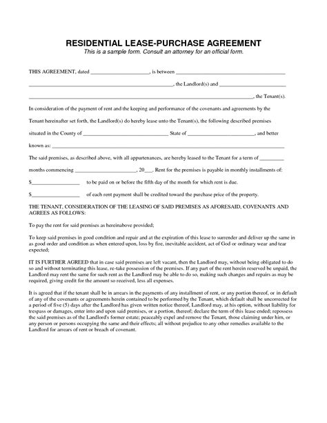 Rent To Buy Contract Template by Lease To Own Contract Template Agreement Contract