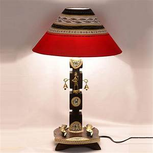 Exclusivelane 20 inch dhokra and warli handpainted wooden for Table lamp flipkart