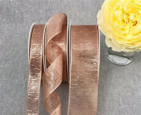 wired rose gold ribbon metallic lame mesh