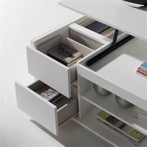 Table Basse Relevable Blanche : table basse relevable blanche rangements concept ~ Teatrodelosmanantiales.com Idées de Décoration