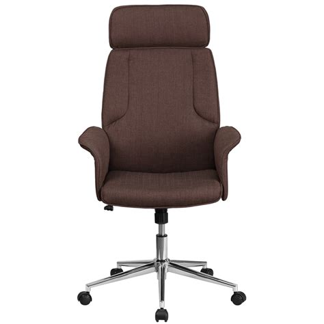 high back brown fabric executive swivel chair with chrome