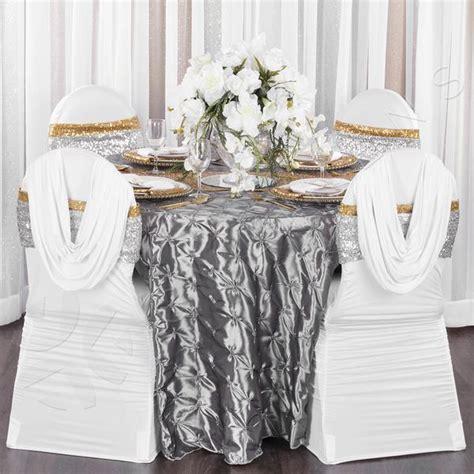 132 inch Pinchwheel Round Tablecloth Silver at CV Linens