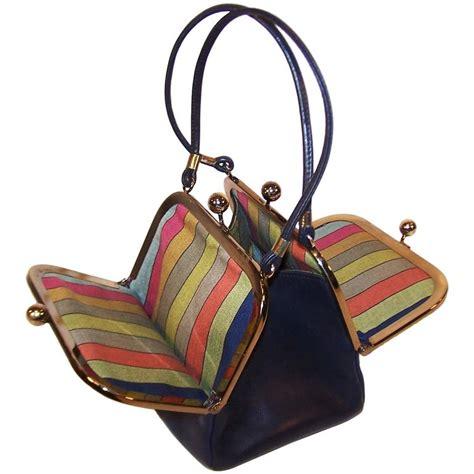 bonnie cashin double kiss lock mini leather handbag