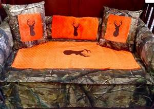 Saftey Orange Brown Buck Realtree Camo Baby Bedding For