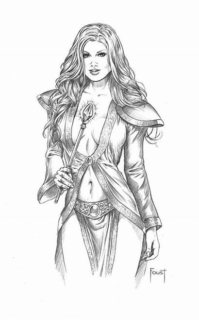 Drawings Fantasy Mitch Coloring Adult Pages Foust