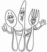 Fork Spoon Knife Coloring Template Cartoon Pages Happy sketch template