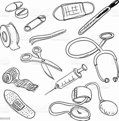 Doctors Equipment Drawing Vector Band Illustrations Aids