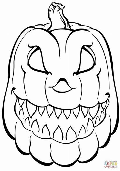 Coloring Pumpkin Scary Pages Printable Drawing Dot
