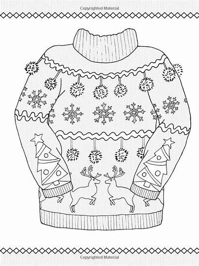 Coloring Pages Printable Sweater Ugly Hiver Adult