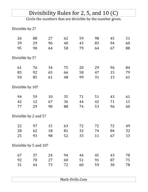 division worksheet divisibility for 2 5 and 10