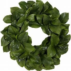 "26"" Artificial Magnolia Leaf Wreath: Realistic Green"