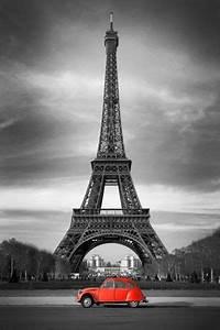 Tour Eiffel Deco : tableau d co toile citro n 2cv rouge et tour eiffel en noir et blanc favorite things ~ Teatrodelosmanantiales.com Idées de Décoration