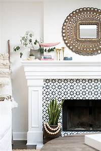 Decorative, Tile, Fireplace, Surround, And, White, Mantel, Finished, With, Potted, Plants, And, Metallic