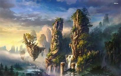Island Fantasy Floating Islands Landscape Sky Waterfall