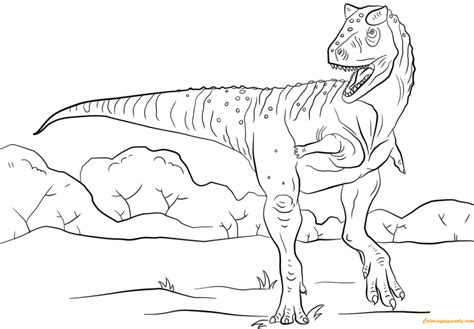 Dinosaurus Kleurplaat Jurrasic World by Jurassic Park Carnotaurus Coloring Page Free Coloring