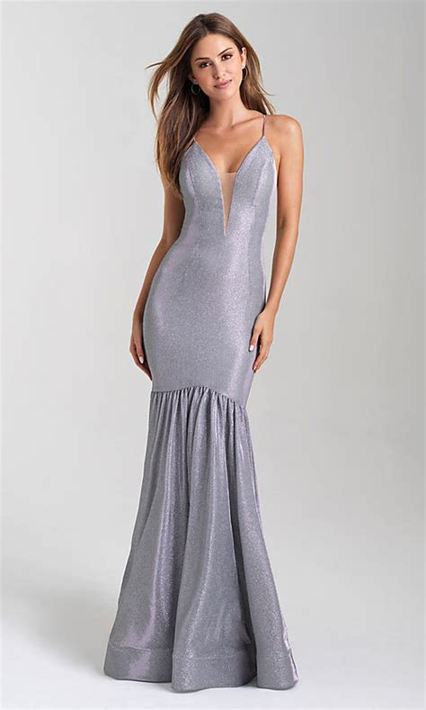 Long Fitted Glitter Prom Dress with a Train