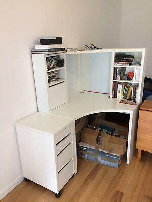 bureau d angle ikea micke avec caisson 4 tiroirs coloris blanc eur 50 00 picclick fr