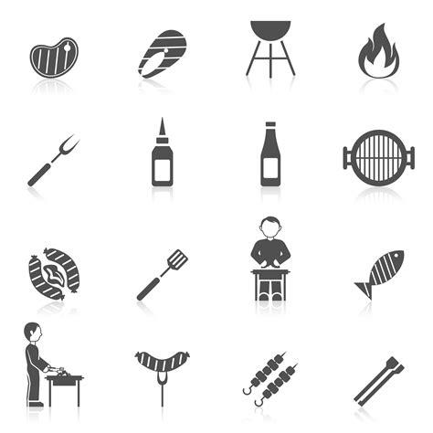 bbq grill icon black   vectors clipart