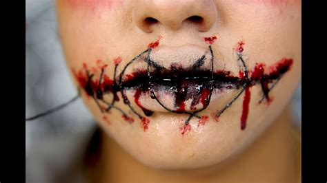 foto de Halloween :Sewn/Stitched Lips Easy SFX tutorial for