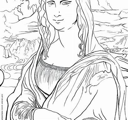 Mona Coloring Lisa Pages Famous History Works