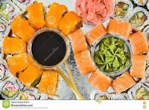 Sushi rolls set, top view stock photo. Image of rice ...