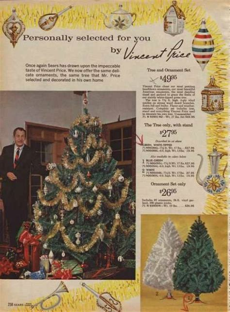 vincent price sears christmas trees vintage ads