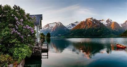 Norway Landscape Spring Nature Sunrise Mountain Fjord