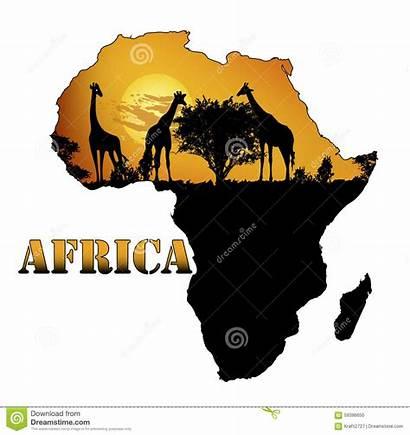 Africa Map Vector Fauna Illustration